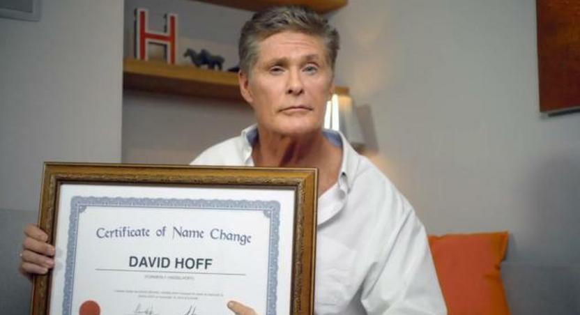 David Hassellhoff changes name to David Hoff