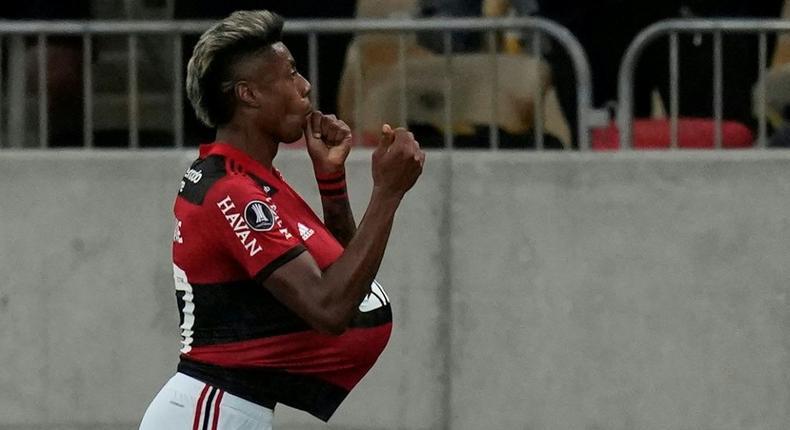 Flamengo striker Bruno Henrique celebrates after scoring for the Brazilian club in their 2-0 victory over Ecuador's Barcelona in the Copa Libertadores on Wednesday Creator: Silvia Izquierdo