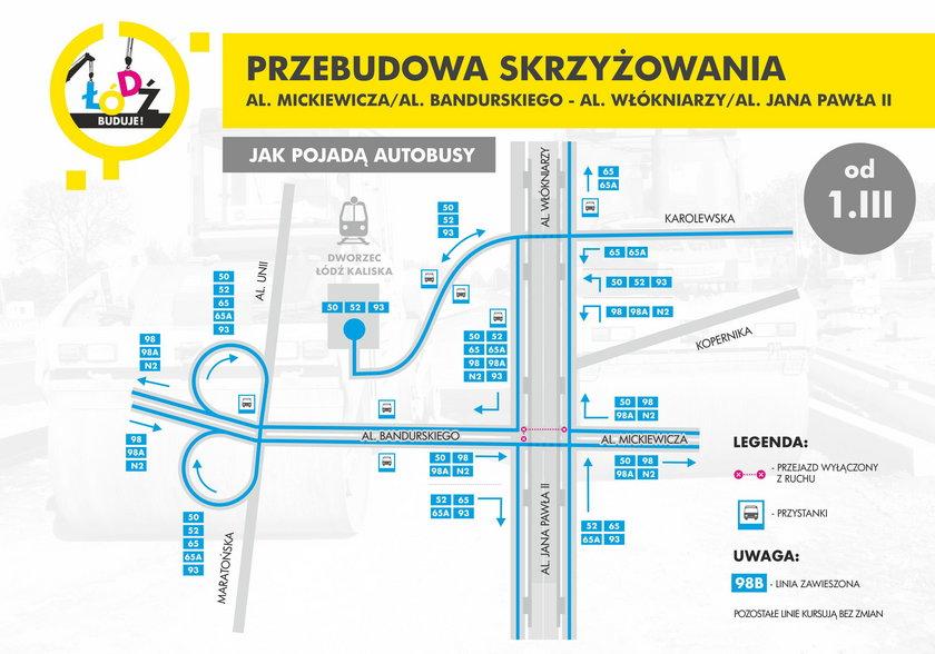 Schemat organizacji ruchu przy Dworcu Kaliskim w Łodzi