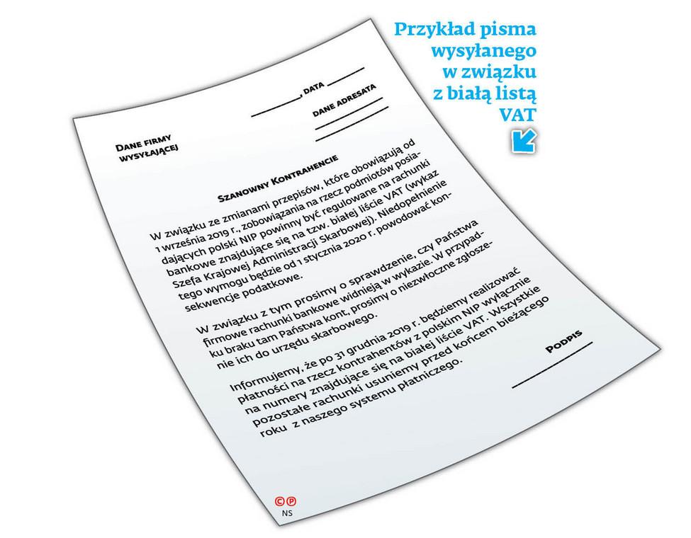Przykład pisma wysyłanego w związku z białą listą VAT
