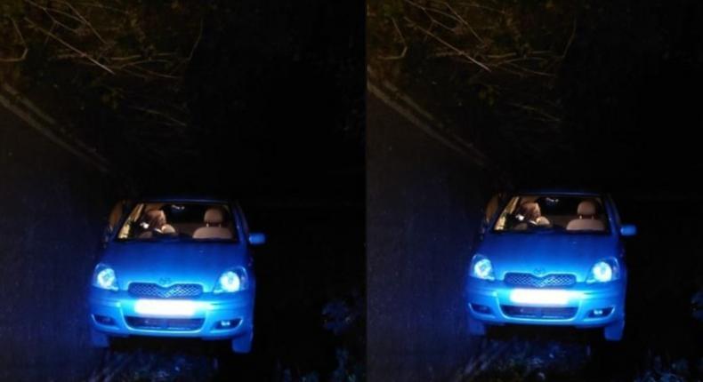 Toyota Yaris somersaults as couple having sex inside knocks the handbrake – Police reveal