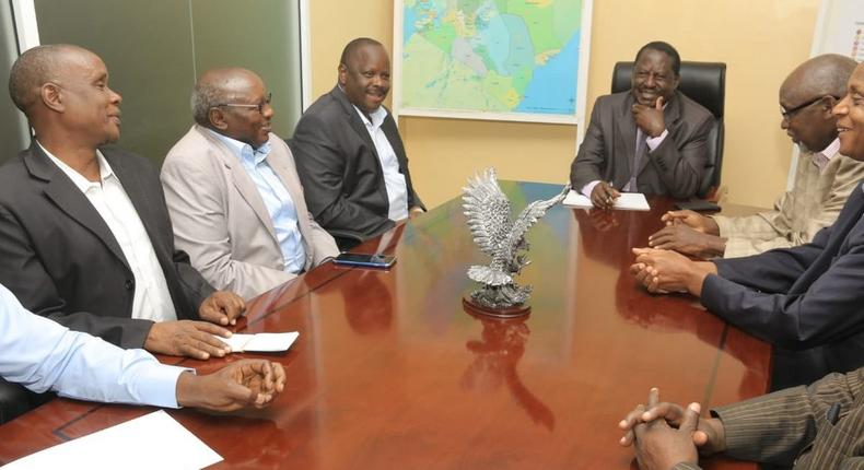 Raila Odinga meeting a delegation led by former Bomet Governor Isaac Ruto