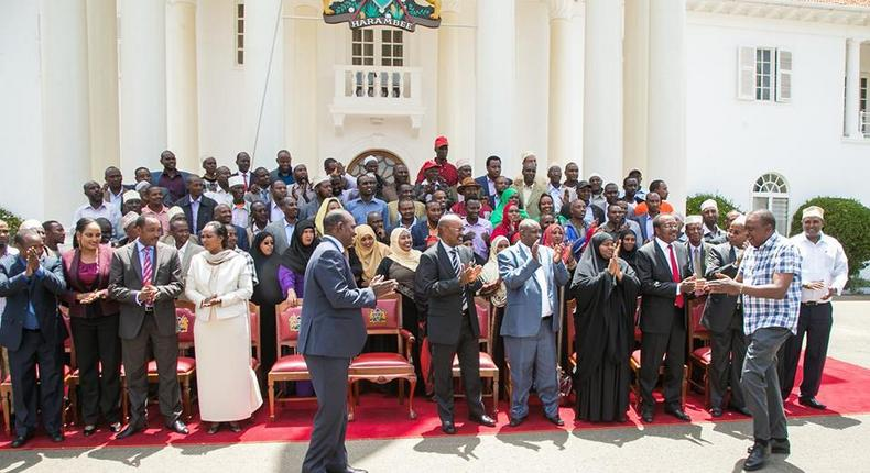 Marsabit Governor Ukur Yatani with MPs and MCAs at State House where they were received by President Uhuru Kenyatta