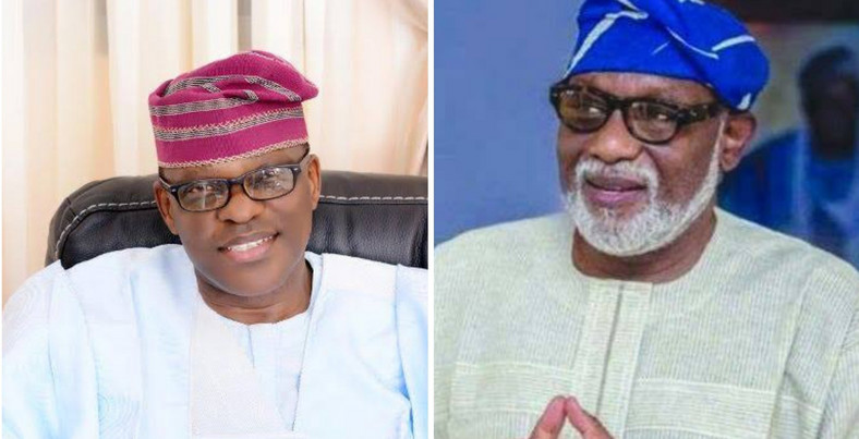 Ondo state Governor and APC candidate, Rotimi Akeredolu (Right) and his main contender, Eyitayo Jegede of the Peoples' Democratic Party. [withinnigeria]