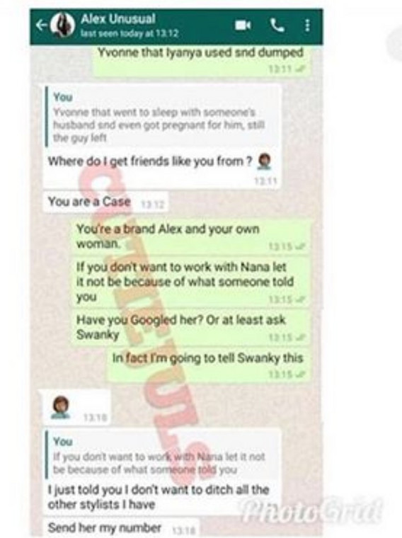 Ifu Ennada tweets are coming barely a few hours after a chat conversation between Alex and herself leaked. In the conversation, both ladies were chatting about Ghanaian actress, Yvonne Nelson.  [LindaIkeji]