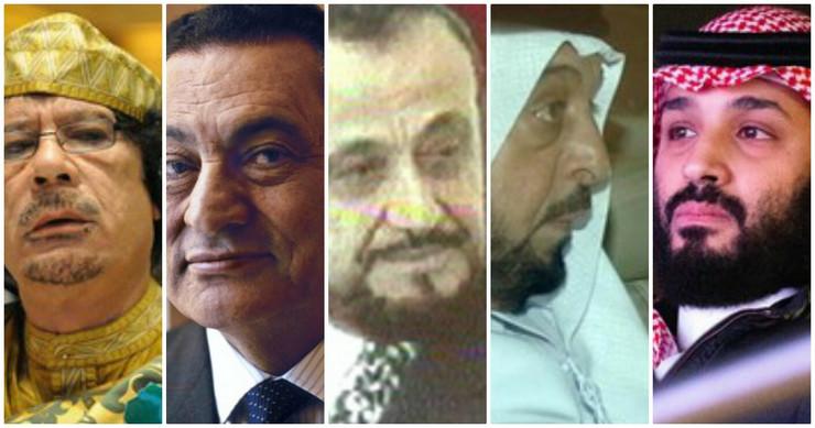 Moamer el Gadafi, Hosni Mubarak, Rifat al Asad, Kalifa bin Zajed al Nahjan i Mohamed bin Salman