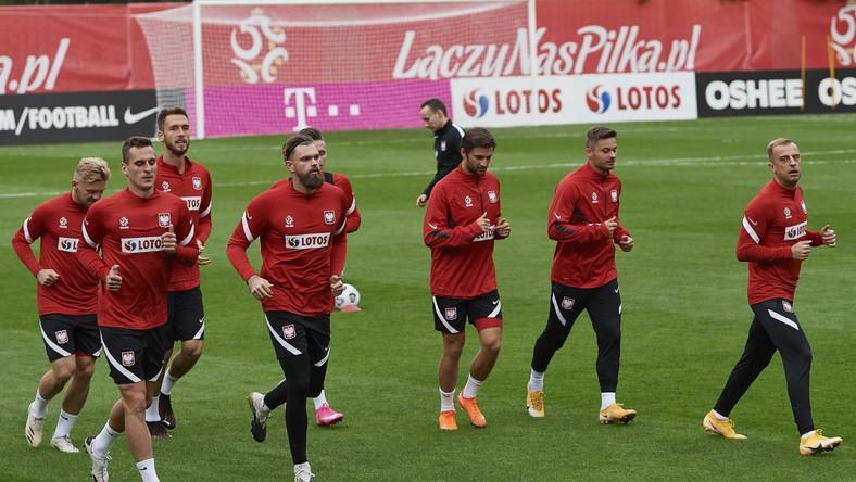 Piłkarze reprezentacji Polski podczas treningu kadry w Sopocie