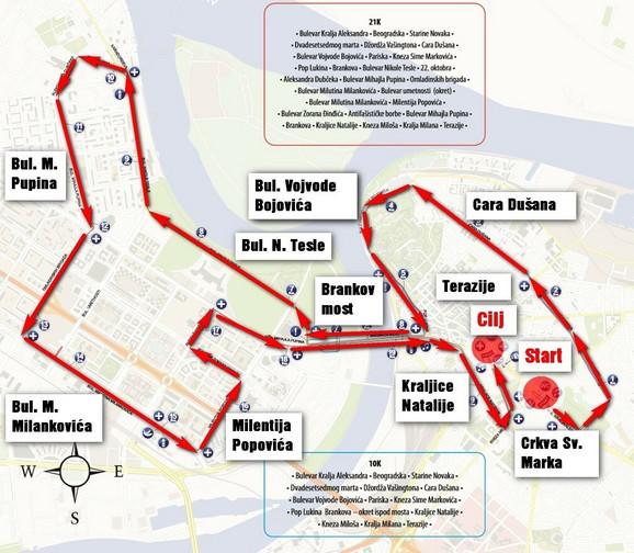 Trasa kojom će se kretati polumaratonci