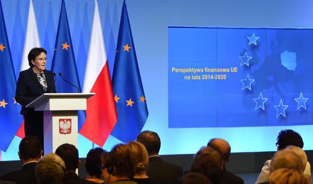 Premier Ewa Kopacz przemawia, podczas uroczystej inauguracji nowej perspektywy UE 2014-2020