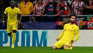 Mohamed Salah scored in his ninth consecutive game for Liverpool against Atletico Madrid in the Champions League on Tuesday. Creator: GABRIEL BOUYS