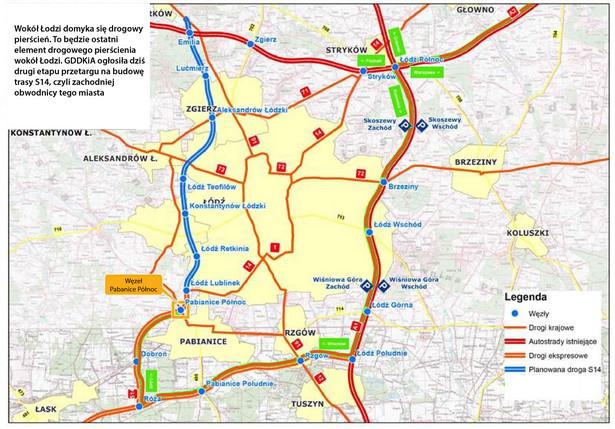 Obwodnica Łodzi - miasto z biegu autostrad A1, A2 oraz tras ekspresowych S8 i S14 .jpg