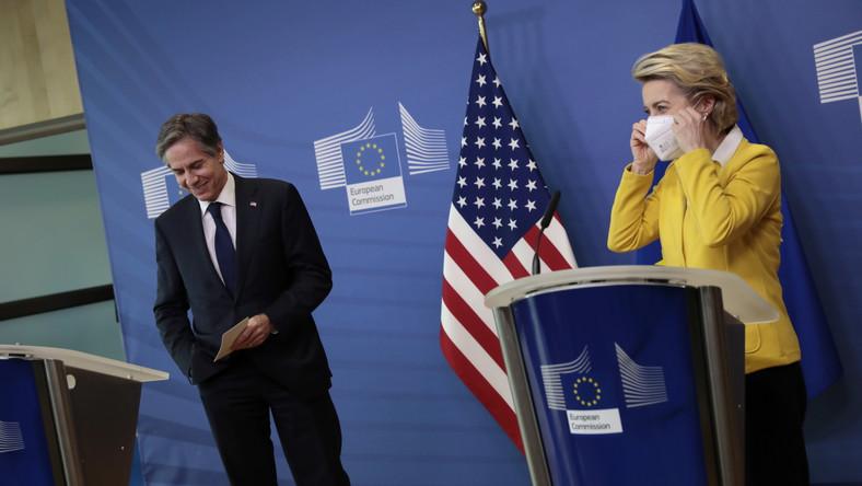 Spotkanie Blinkena z von der Leyen w Brukseli.