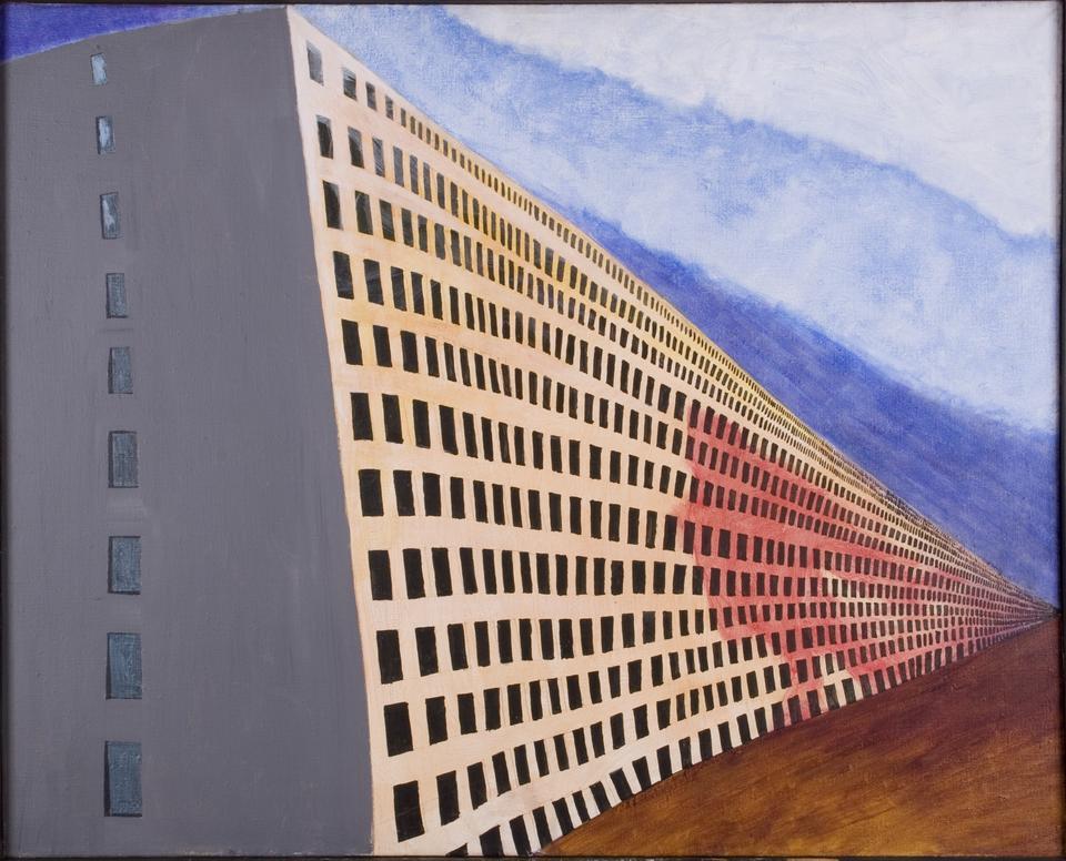 Ryszard Woźniak, Wielki mur dynastii Tsin czyli nasz dom rodzinny, 1982, akryl płótno, fot. MNK