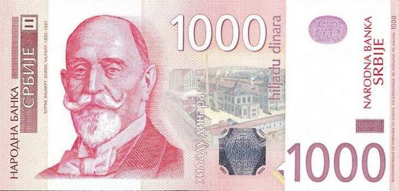 Đorđe Vajfert na novčanici od 1000 dinara
