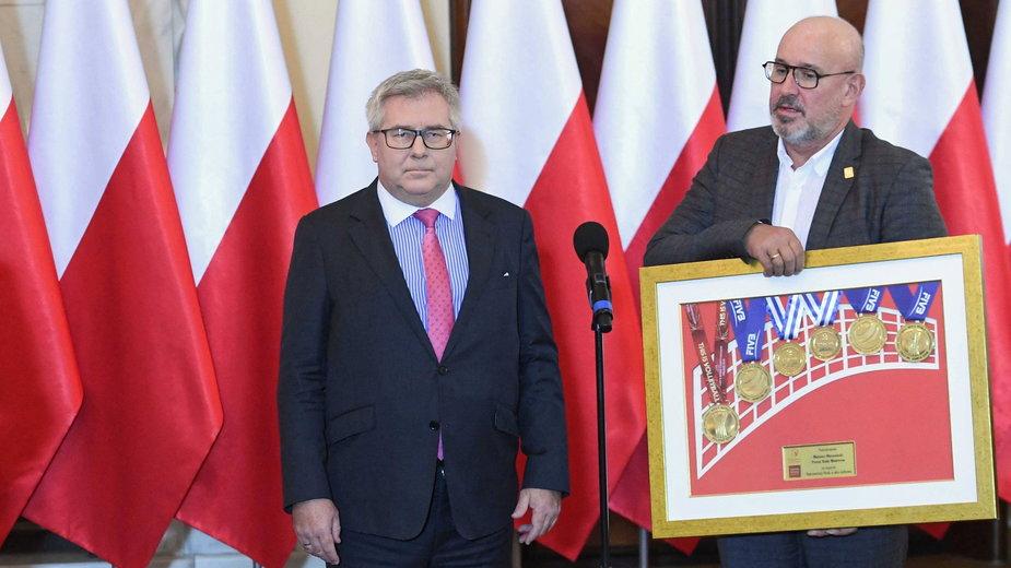 (od lewej) Ryszard Czarnecki i Jacek Kasprzyk. 9.10.2019 r.