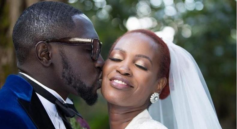Polycarp Otieno from Sauti Sol with his wife, lady Maandy.