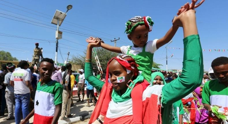 A girl participates in a street parade in Hargeisa to celebrate Somaliland's self-declared independence.