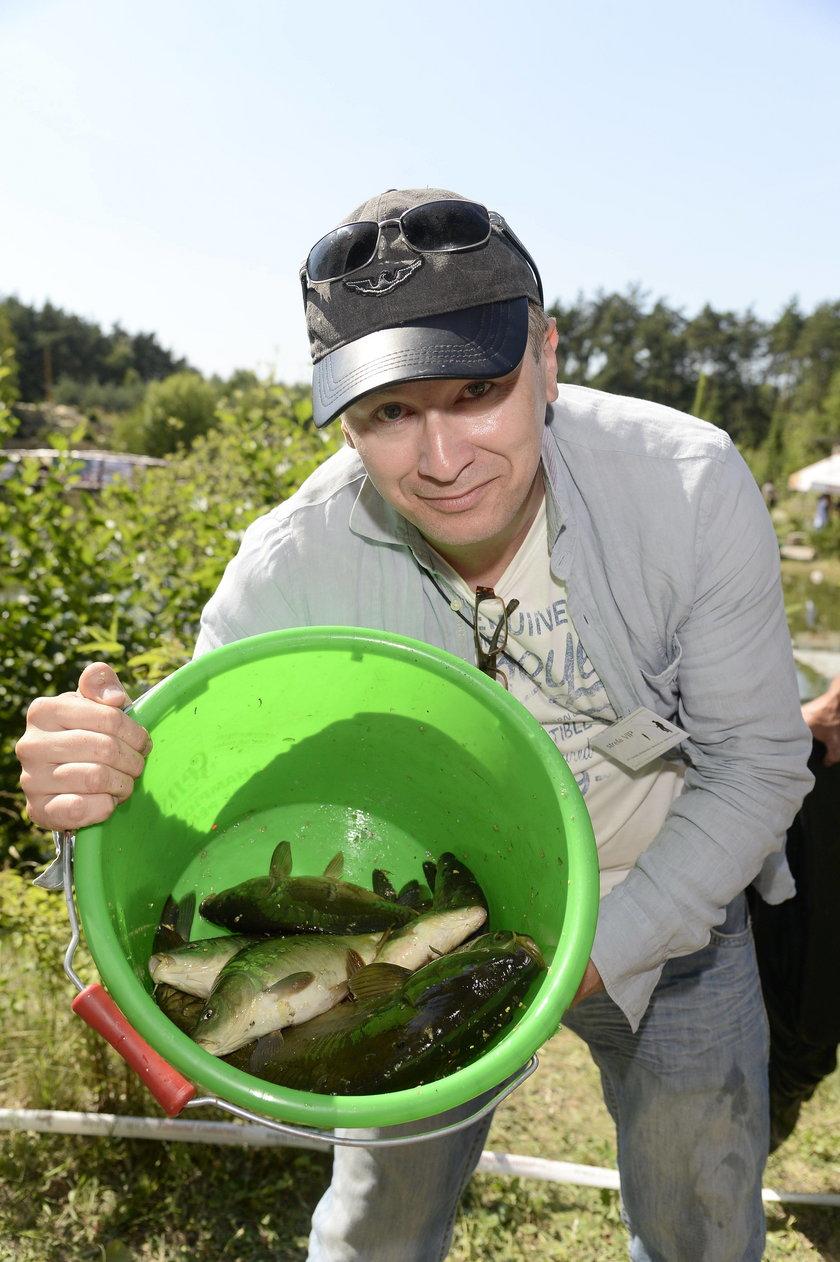 Wojciech Majchrzak na zawodach aktorów w łowieniu ryb