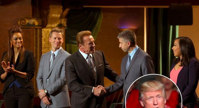 Patrick Knapp Schwarzenegger, Arnold Schwarzenegger, and Tyra Banks of NBC's The Celebrity Apprentice.