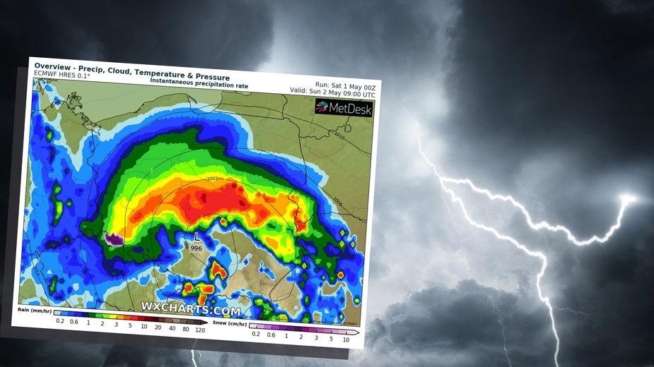 Niż Daniel uderzy w Polskę. W niedzielę silne opady deszczu