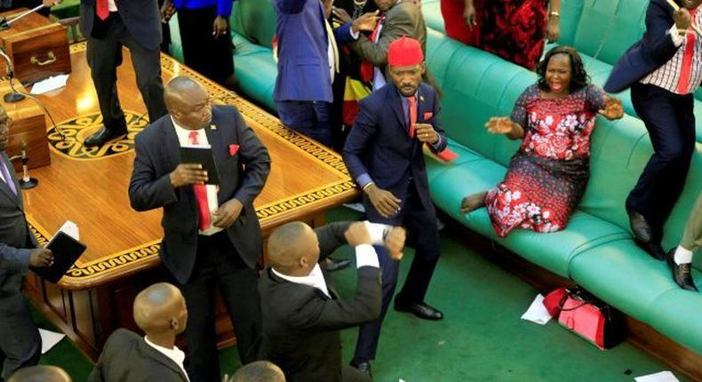 Ugandan MPs engage in fist fight in parliament at a past event.