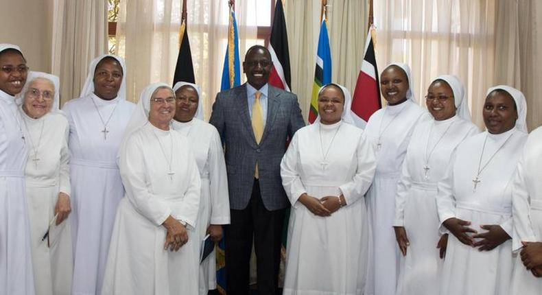 DP William Ruto with the Dimesse Sisters during a recent visit they made to his office (Twitter)