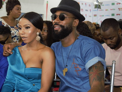 Mike, 1st runner up and Mercy, winner of the BBNaija season 4 tagged Pepper Dem at a press briefing recently. [Pulse]