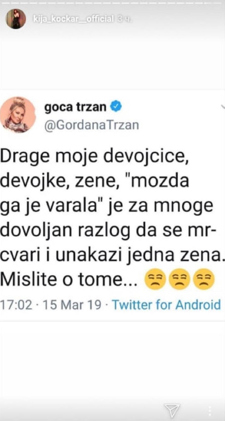 Kija podelila Gocin tvit