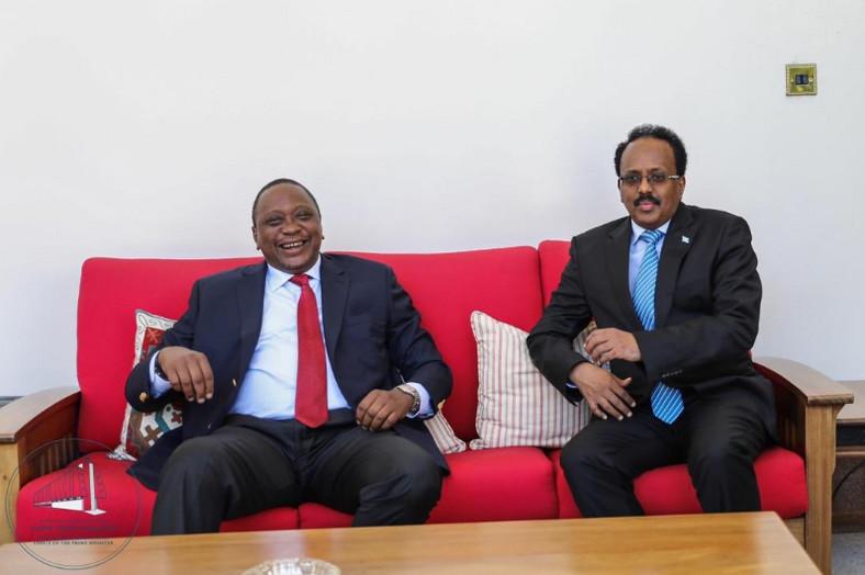 Kenyan president Uhuru Kenyatta and his Somali counterpart Mohammed Farmajo