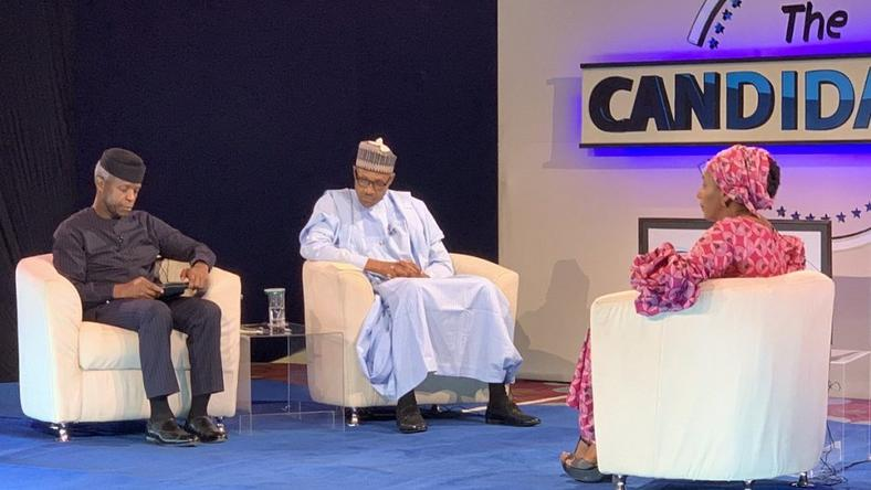 Osinbajo and Buhari being grilled by Kadaria Ahmed at the presidential town-hall (Punch)