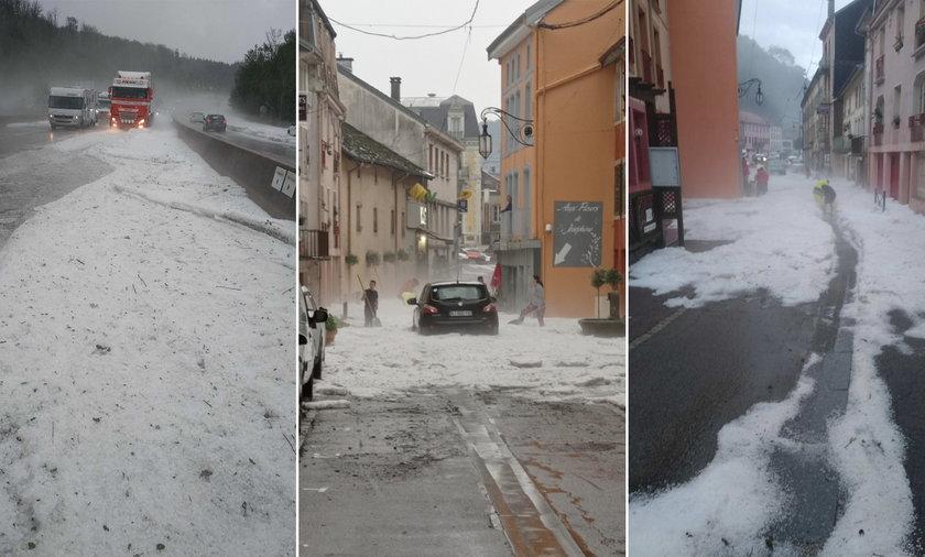 To nie środek zimy, a ostatnie dni czerwca w jednym z francuskich miasteczek.