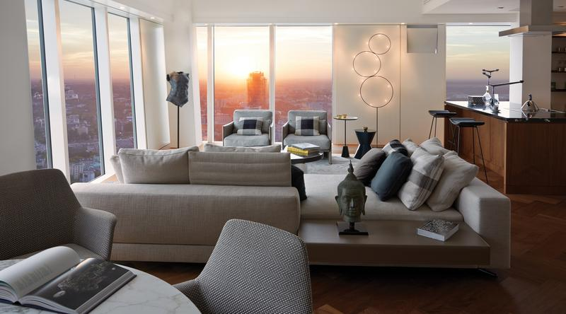 Wnętrze apartamentu na Złotej 44 w Warszawie