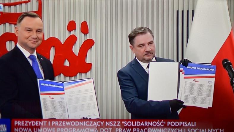 Prezydent RP Andrzej Duda oraz przewodniczący Solidarności Piotr Duda