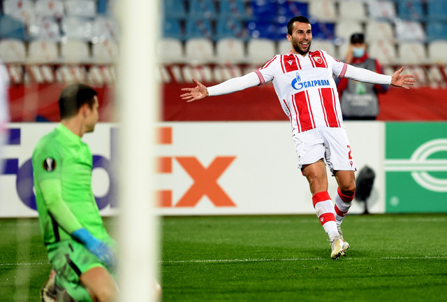 Trenutak nakon što je Milan Gajić postigao gol na susretu FK Crvena zvezda - Slovan Liberec