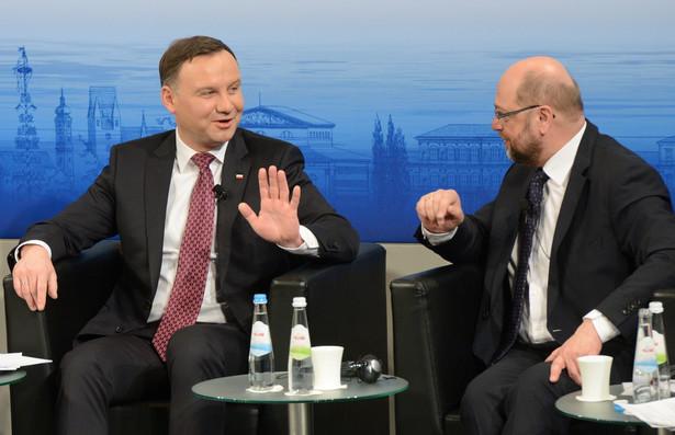 Prezydent RP Andrzej Duda i przewodniczący PE Martin Schulz na Monachijskiej Konferencji Bezpieczeństwa.