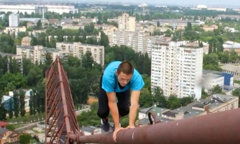 150 m nad ziemią fikał bez zabezpieczenia