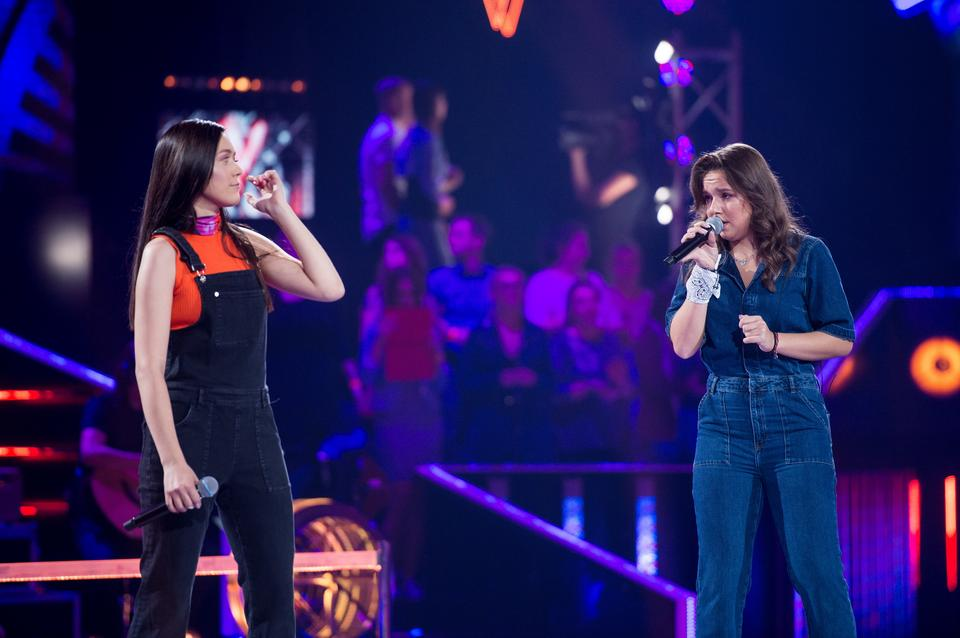 "Marzena Ryt i Julia Mróz na planie programu ""The Voice of Poland 10"""