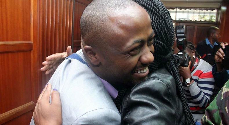 File image of Joseph Jowie Irungu hugging a female relative in court. Joseph Irungu alias Jowie out of prison after raising Sh2 million cash bail