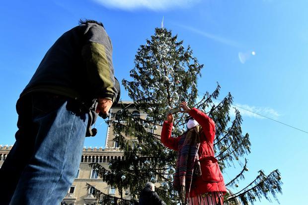 Choinka na Placu Weneckim w Rzymie