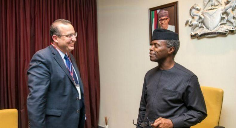 Acting President Yemi Osinbajo, SAN, left with Amine Mati, Senior Resident Representative and Mission Chief for Nigeria, International Monetary Fund (IMF) during a strategic meeting at the Statehouse, Abuja, 2017.
