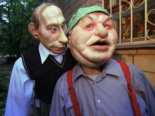 "Life size puppets of Russian political leaders ""Kukly"""