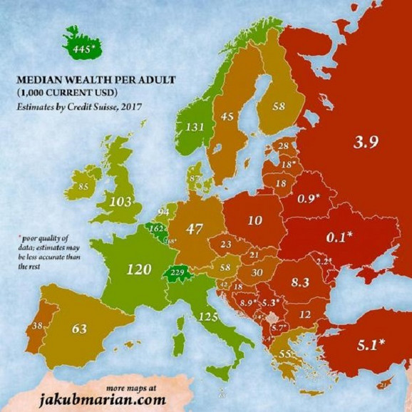 Mapa bogatstva po glavi stanovnika u Evropi