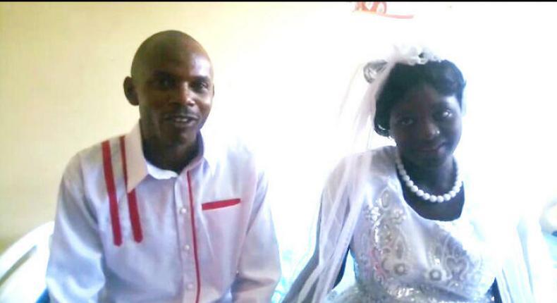 Francis Mungai and his bride Veronica Kaniu during their wedding at Thika Level 5 Hospital