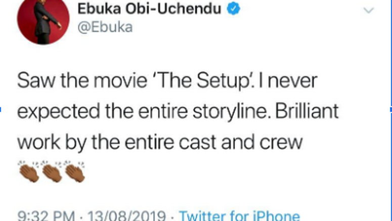 Ebuka Obi Uchendu, Chidi Okereke, Daniel Ademinokan give a thumbs up to the set-up movie breaking the Nollywood status quo!
