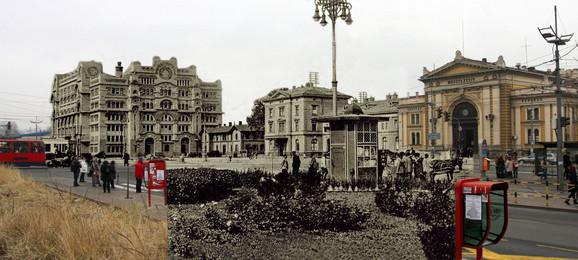 Palata uprave pošte - Po mnogima ovo zdanje koje je sagrađeno krajem dvadesetih godina 20. veka predstavlja vrhunac stvaralaštva arhitekte Momira Korunovića. Palata je ostala pošteđena u prvim naletima bombardera 1941, ali je kasnije nisu poštedeli ni nacistički niti saveznički bombarderi. Nove vlasti su nakon rata odlučile da zdanje obnove, ali ne po originalnom rešenju, pa danas na Savskom trgu kao da je ostao samo kostur Korunovićeve pošte (kliknuti + za uvećanje)