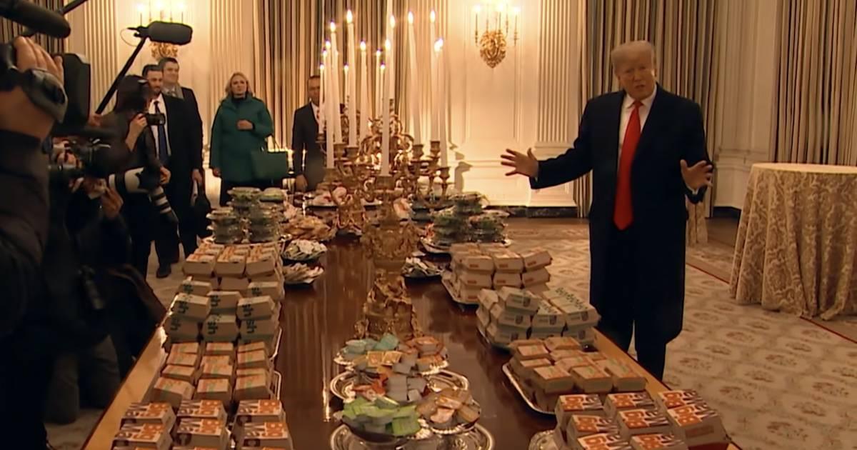Donald Trump serviert Fast Food im Weißen Haus