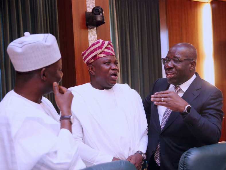 Former Lagos Governor, Akinwunmi Ambode, Godwin Obaseki of Edo State and Gombe's Ibrahim Dankwambo during NEC meeting at the Statehouse before the 2019 elections (State House press corps)
