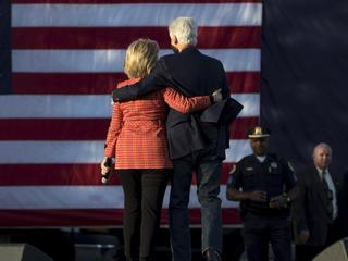 Democratic presidential candidate Hillary Clinton holds a campaign rally with her husband former Pre