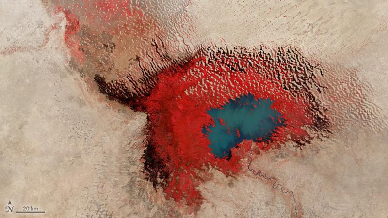 Jezioro Czad uchwycone przez satelitę