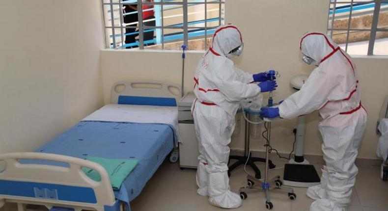 Medical practitioners at a Coronavirus isolation and treatment facility in Mbagathi District Hospital on Friday, March 6, 2020